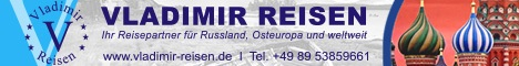Vladimir-Reisen Seit 1999 präsentiert Vladimir-Reisen und sein Team eine Vielzahl von Reisezielen in - Russland - GUS-Staaten - Baltischen Ländern - Zentralasien - weltweit  Звоните нам: ☎ (+49) 089 5385 9661